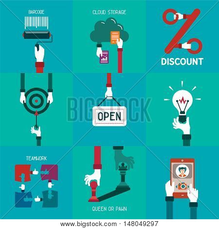 Common simple business concepts set in flat style
