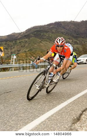 CA â?? FEB 22: Frank Schleck of Luxembourg (Team Saxo Bank), rides downhill during the final stage of the Amgen Tour of California on February 22, 2009. Schleck won the stage.