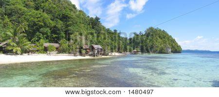 Beach Of Pulau Kadidiri, Togians Island, Sulawesi, Indonesia, Panorama
