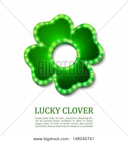 Shine lucky clover with shadow on abstract background for your design, vector