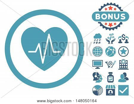 Heart Ekg icon with bonus symbols. Vector illustration style is flat iconic bicolor symbols, cyan and blue colors, white background.