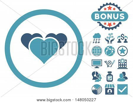 Heart Favourites icon with bonus symbols. Vector illustration style is flat iconic bicolor symbols, cyan and blue colors, white background.