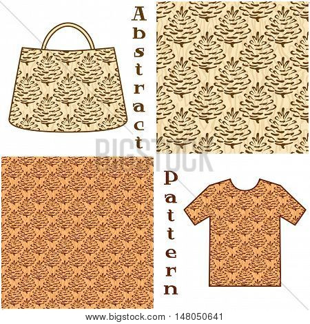 Seamless Patterns, Brown Outline Pictogram Cones of Coniferous Tree on Abstract Background, Elements for Your Design, Prints and Banners, For the Example Presented in a Female Top and a Bag. Vector