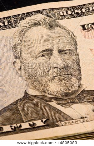 Ulysses S. Grant portrait on Fifty Dollar Bill
