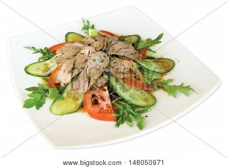 Salad with roast beef tomatoes cucumbers cilantro thyme mixes salad Aisberg Romana Rucola Lola Rossa seasoned with special sauce