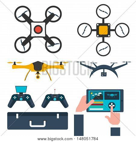Set Drones. Flat design. Drone quadrocopter. Vector illustration