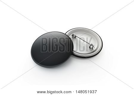 Blank black button badge stack mockup isolated clipping path 3d rendering. Empty clear pin emblem mock up. Round plastic volunteer label. Vote sign design template. Campaigning badges display.