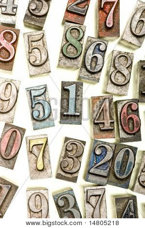 A random selection of colorful letterpress numbers as a background
