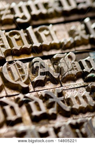 A random selection of Old English letterpress characters as a background