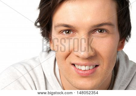 Portrait of Smiling Young Man Isolated on Transparent Background