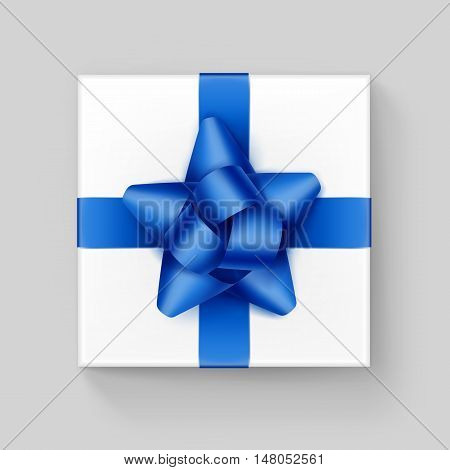 Vector White Square Gift Box with Shiny Blue Ribbon Bow Close up Top view Isolated on Background
