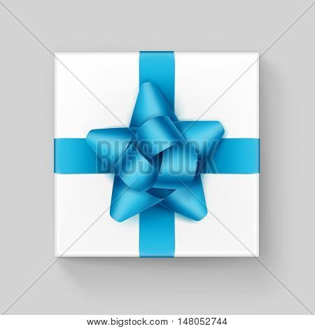 Vector White Square Gift Box with Shiny Light Blue Turquoise Azure Ribbon Bow Close up Top view Isolated on Background