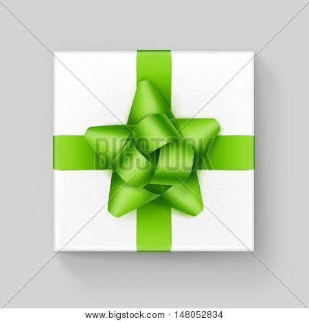 Vector White Square Gift Box with Shiny Light Green Ribbon Bow Close up Top view Isolated on Background