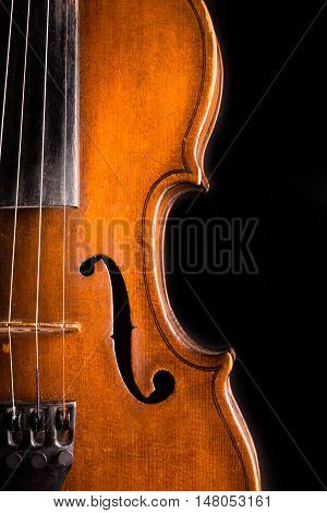 Closeup of a Violin, Isolated on Black