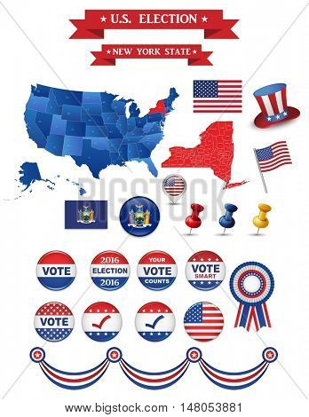 US Presidential Election 2016. New York State Including High Detailed Map of New York Perfect for Election Campaign