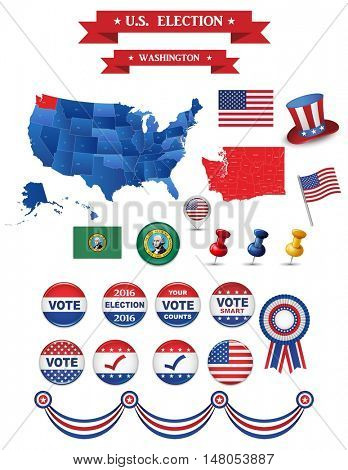 Presidential Election 2016. Washington  State. Including High Detailed Map of Washington Perfect for Election Campaign