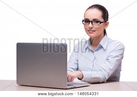 Young businesswoman with laptop isolated on white