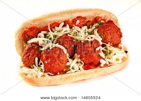 A delicious meatball sandwich on a roll