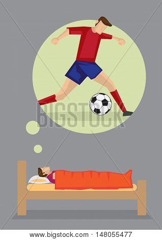 Cartoon man lying on his bed thinking about becoming a soccer player. Vector illustration on dreams and aspiration concept isolated on grey background.
