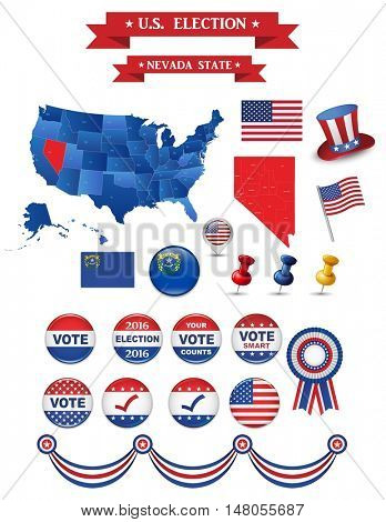 US Presidential Election 2016. Nevada State. Including High Detailed Map of Nevada Perfect for Election Campaign
