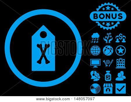 Dead Marker icon with bonus symbols. Vector illustration style is flat iconic symbols, blue color, black background.