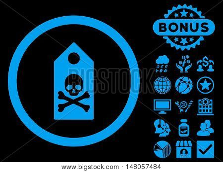Death Mark icon with bonus pictures. Vector illustration style is flat iconic symbols, blue color, black background.