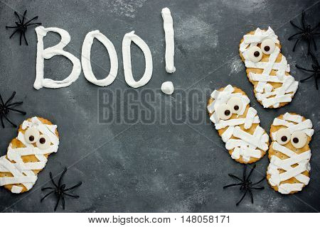 Cute and scary Halloween cookies in the form of mummies