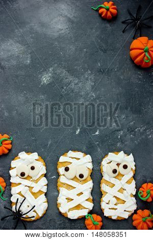 Funny mummy cookies for Halloween treat for kids
