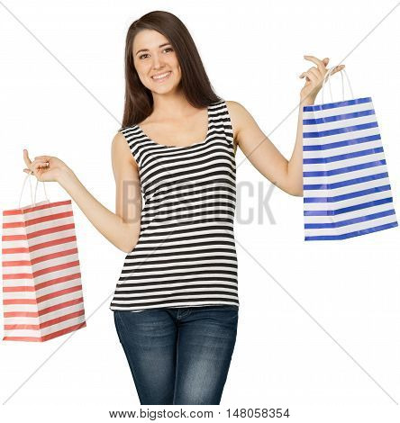 Friendly Young Woman Standing and Holding Shopping Bags - Isolated