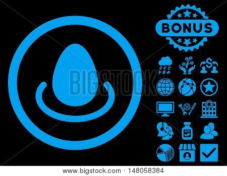 Deposit Egg icon with bonus elements. Vector illustration style is flat iconic symbols, blue color, black background.