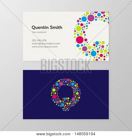 Modern letter Q circle colorful Business card template. Vector design. Layered editable.