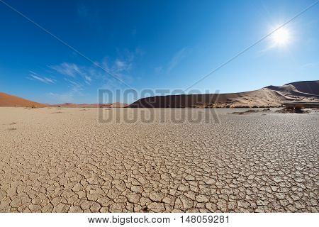 Scenic Sand Dunes And Cracked Clay Pan In Sossusvlei, Namib Naukluft National Park, Best Tourist And