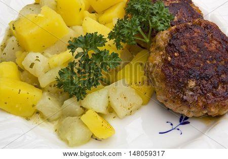 Potatoes, turnips and rissole, a ribald german dish