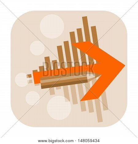 Business start up or creative design project icon with arrow and pencil