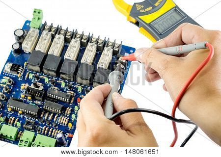 Checking Circuit by Multi-Meter electrical workshop isolated on white background
