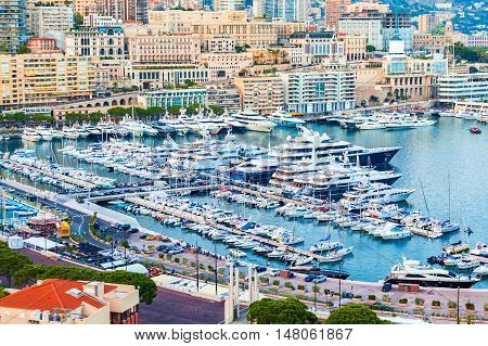 Cityscape of La Condamine and Port Hercule, Monaco-Ville, The Kingdom of Monaco. Cote d'Azur