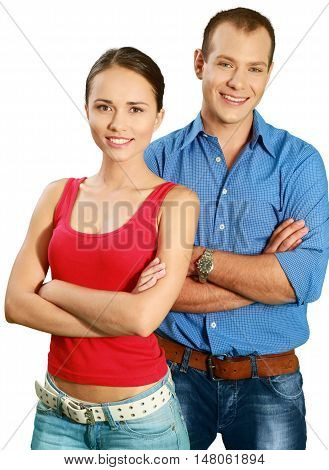 Friendly Man and Woman with Arms Folded - Isolated
