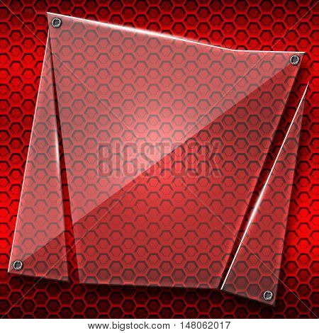 set 8. shattered glass on red metallic mesh wall. 3d illustration background.