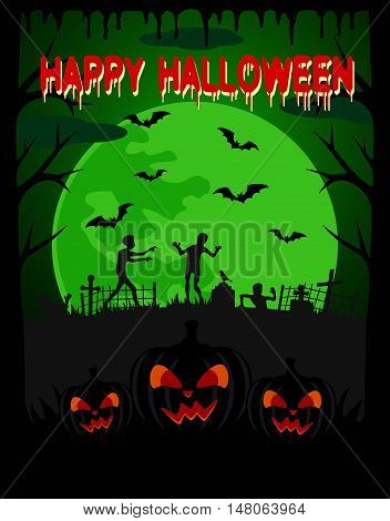 Happy Halloween vector background with zombie and scary pumpkin