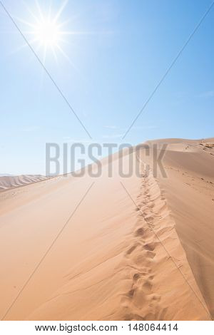 Cenic Ridges Of Sand Dunes With Footprints In Sossusvlei, Namib Naukluft National Park, Best Tourist