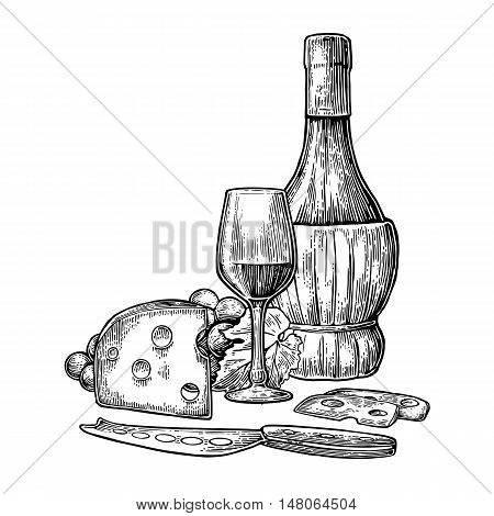 Cheese and wine set. Bottle glass bunch of grapes and knife. Black vintage engraved vector illustration isolated on white background. For label poster menu label web.