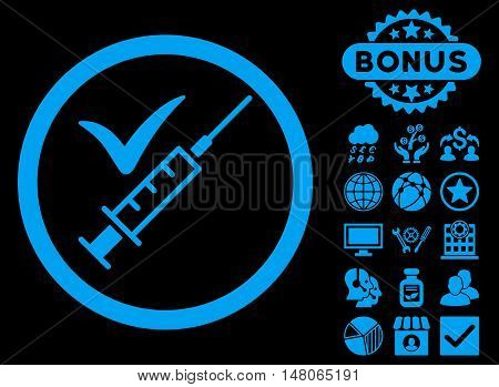 Done Vaccination icon with bonus elements. Vector illustration style is flat iconic symbols blue color black background.