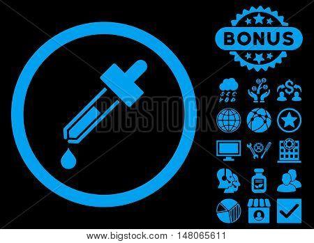 Dropper icon with bonus design elements. Vector illustration style is flat iconic symbols blue color black background.