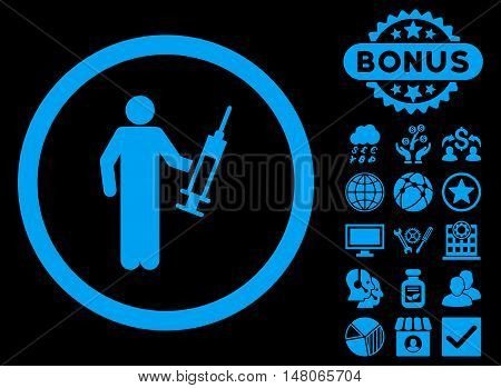 Drug Dealer icon with bonus symbols. Vector illustration style is flat iconic symbols blue color black background.