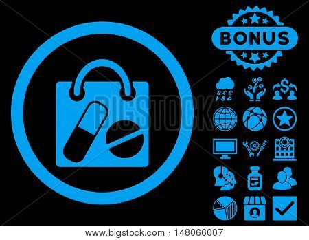 Drugs Shopping Bag icon with bonus pictures. Vector illustration style is flat iconic symbols blue color black background.