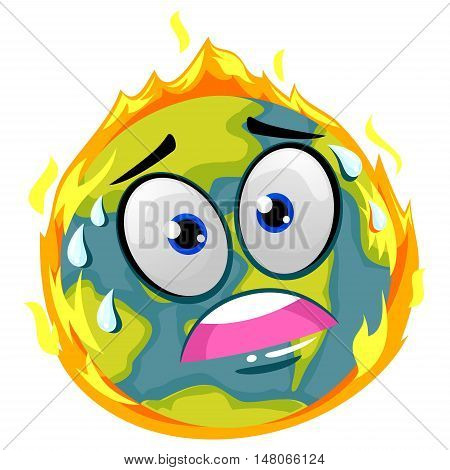 Vector Illustration of Earth on Fire Mascot showing Global Warming