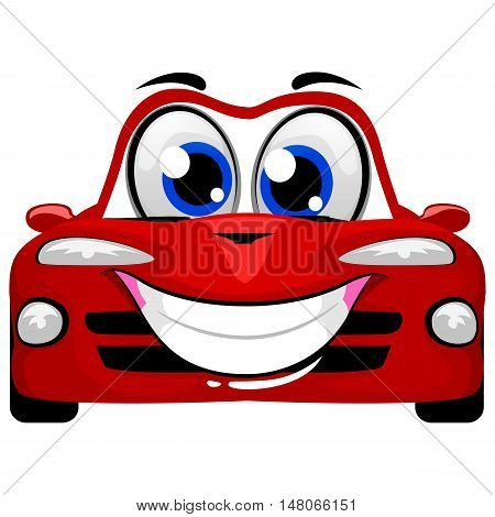 Vector Illustration of Cute Cartoon Car Mascot