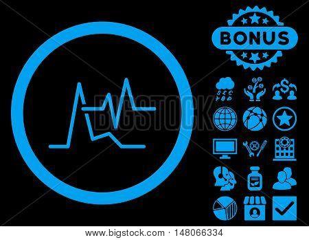 ECG icon with bonus symbols. Vector illustration style is flat iconic symbols, blue color, black background.