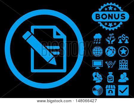 Edit Records icon with bonus symbols. Vector illustration style is flat iconic symbols, blue color, black background.