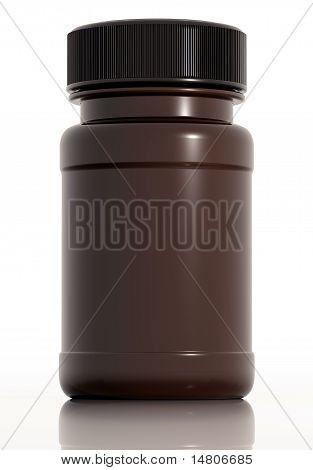 Brown plastic medical bottle